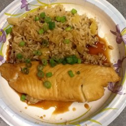 Tilapia with Soy Sauce & Pineapple Scallion Rice