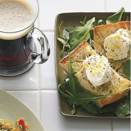 Toasted Bread with Burrata and Arugula