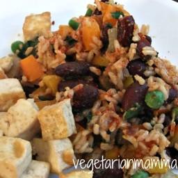 Tofu with Spanish Rice and Beans – #glutenfree #vegan