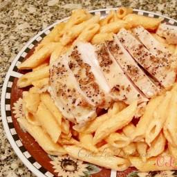 Tomato Cream Sauce Pasta with Grilled Chicken recipe