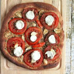 Tomato Garlic Coconut Mozzarella on 100% Whole Wheat crust Pizza. vegan rec