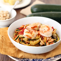 Tomato Zucchini Noodles with Shrimp, Roasted Artichokes and Cannellini Bean