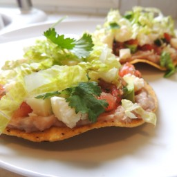 Tostadas with Pinto Bean Spread and Spicy Salsa