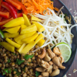 Tropical Lentil Lunch Bowls with a Creamy Coconut-Lime Dressing