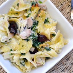 tuna noodle casserole with olives and spinach