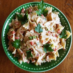 Tuna Pasta Salad with Goat Cheese and Roasted Red Pepper