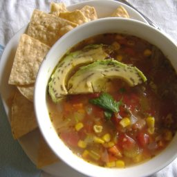 Turkey-Corn Soup with Tortilla Chips and Avocado