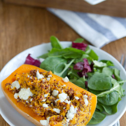 Twice Baked Butternut Squash (with quinoa and gorgonzola)