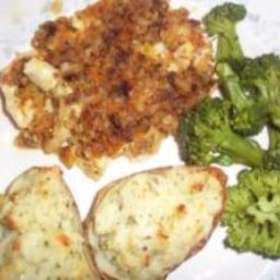 Twice Baked Cheesy Stuffed Garlic Potatoes