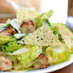 Chicken Caesar Salad w/ Homemade Cheese Crisps