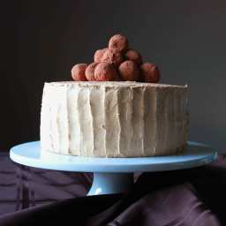 Vanilla Bean Latte Cake with Dark Chocolate Truffle