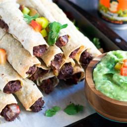 Vegan Baked Refried Bean Taquitos with Avocado Dipping Sauce