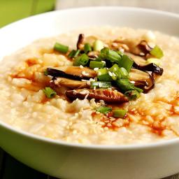 Vegan Brown Rice Congee with Shiitake Mushrooms