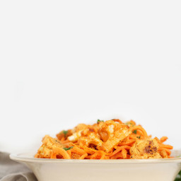 Vegan Buffalo Cauliflower with Sweet Potato Noodles