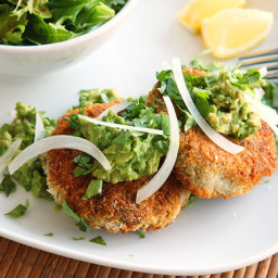 Vegan Chickpea Cakes with Mashed Avocado