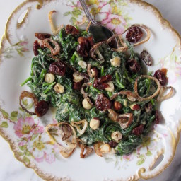 Vegan Creamed Spinach w/ Crispy Shallots, Hazelnuts, and Dried Cherries