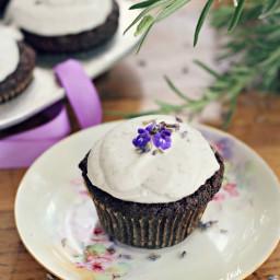 Vegan Chocolate Muffins with Lavender Cream {grain free, gluten free}