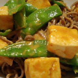 Vegan Peanut Butter Tofu with Snow Peas
