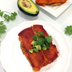 Vegan Pinto Bean  and  Swiss Chard Enchiladas