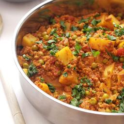 Vegetarian keema curry with peas and potatoes