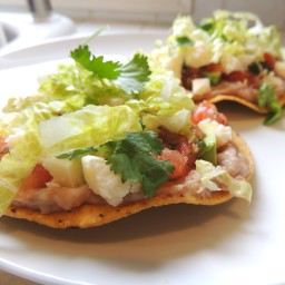Vegetarian Tostadas with Pinto Bean Spread & Spicy Salsa