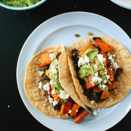 Vegetarian Sweet Potato and Black Bean Tacos with Avocado-Pepita Dip
