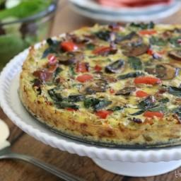 Veggie Quiche with Hash Brown Crust (GF, DF)