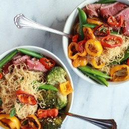 Veggie Noodle Bowl with Grilled Steak