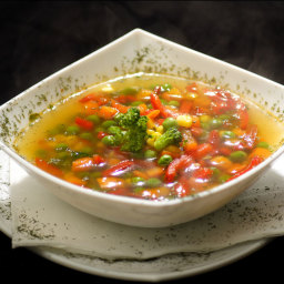 Vegie soup with pesto