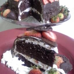 Victorian Strawberry Chocolate Cake