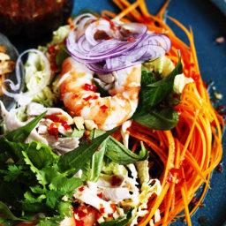 Vietnamese chicken and prawn coleslaw