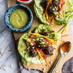 Vietnamese Meatball Lettuce Wraps with Mango Salad + Green (OR Cilantro-Bas