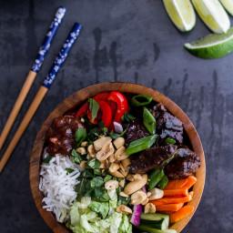 Vietnamese Shaken Beef Bowl.