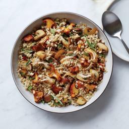 Warm Barley and Caramelized Mushroom Salad