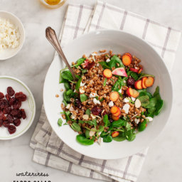 watercress farro salad with tart cherries