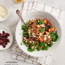 watercress farro salad with tart cherries