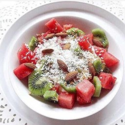 watermelon & cucumber salad with lime & basil