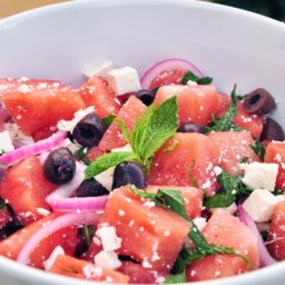 Watermelon Salad with Fresh Mint, Kalamata Olives and Pickled Red Onion