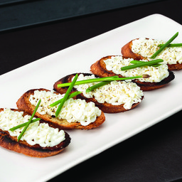 Whipped Honey Goat Cheese on Grilled Crostini
