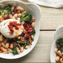 White Beans w/ Bacon, Poached Eggs & Harissa Butter