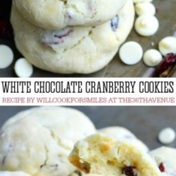 White Chocolate Cranberry Soft Crinkle Cookies