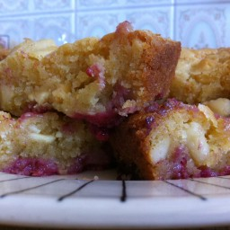 White Chocolate, Raspberry and Macademia Blondie