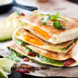 Whole Egg, Bacon and Avocado Quesadilla