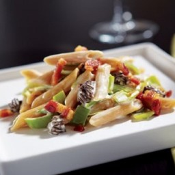 Whole Grain Penne With Morels, Leeks, Crispy Pancetta, And Truffle Oil