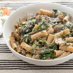 Whole Wheat Rigatoniwith Wild Mushrooms and Swiss Chard