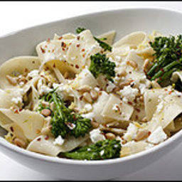Wide Noodles With Broccolini, Feta, Lemon and Pine Nuts