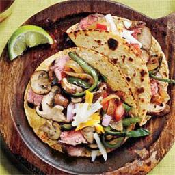 Wild Mushroom, Flank Steak, and Poblano Tacos