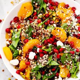 Winter Pomegranate Orange Quinoa Salad with Creamy Lemon Greek Yogurt Dress