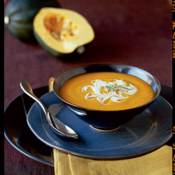 Winter Squash, Leek, and Apple Soup with Cider Crème Fraîche