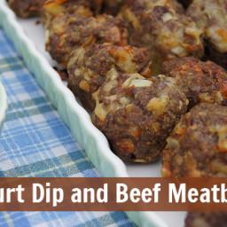 Yogurt Dip and Beef Meatballs